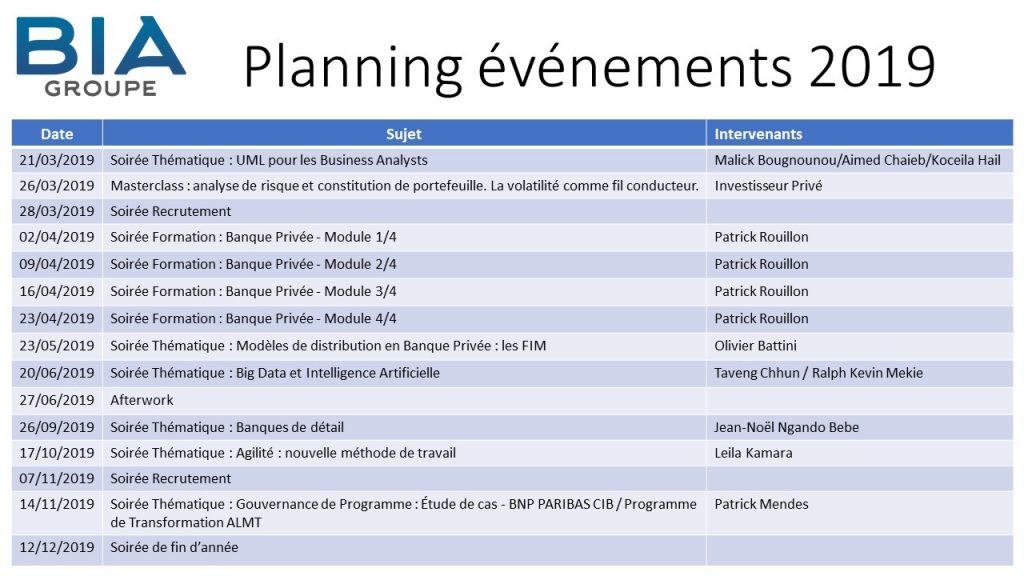 Planning événements 2019